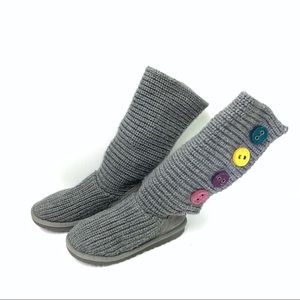 UGG Girls Gray Cardy Boot w Rainbow Buttons